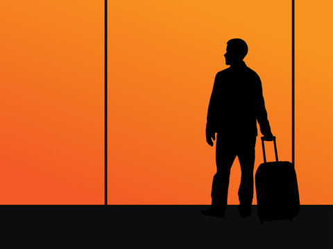 Man with a suitcase is waiting. Black silhouette on against the sunset in the windows of the airport. Vector illustration.