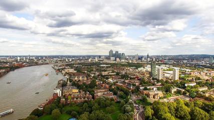 South East London Aerial City View around Canada Water, Surrey Quays feat. Suburban Neighborhood Rotherhithe, Bermondsey, Southwark Skyline