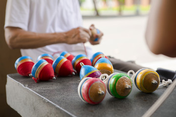 Chinese traditional toys, wood gyro, is an ancient child play