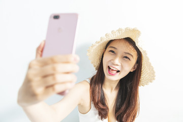 young woman smile take selfie