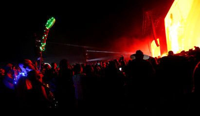 People watch a performance by The Weeknd at the Coachella Valley Music and Arts Festival in Indio