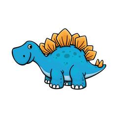 Cute dino, stegosaurus vector illustration