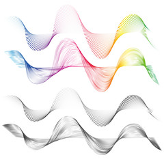 Abstract smooth curved lines Design element Technological background with a line in the wave form Stylization of a soundwave Smooth flowing wavy stripes lines for design technology waveform Vector set