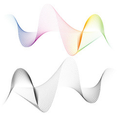Abstract smooth curved lines from dots halftone Design element Technological background with a line in the wave form Stylization of a soundwave Smooth wavy lines for design technology waveform Vector