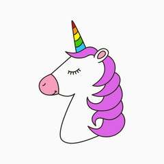 Unicorn head with pink mane and color horn. Cute magic horned horse, cartoon illustration for children theme. Vector.