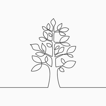 Continuous line drawing of tree with leaf. One line wood, plant and leaves. Hand-drawn illustration for logo, emblem. Vector.