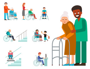 Disabled handicapped diverse people vector wheelchair invalid person help disability characters disable medical assistance illustration.