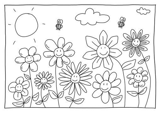 Ausmalbild Blumen