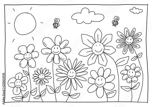 Ausmalbild Blumen Stock Photo And Royalty Free Images On
