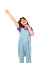 Winner girl celebrating something and raising her arms