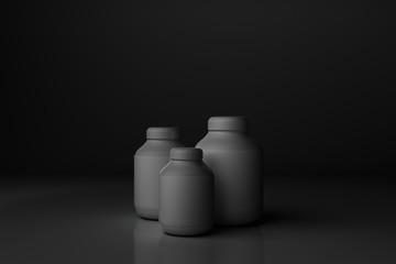 Empty grey bottles