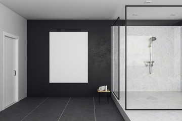 Contemporary bathroom with blank banner