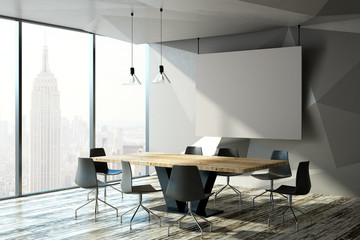 Modern meeting room with billboard