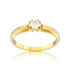 3D illustration isolated yellow gold engagement solitaire double prong basket diamond ring with reflection