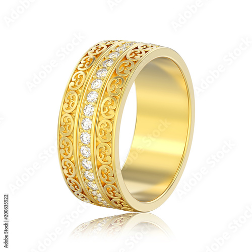 Ilration Isolated Yellow Gold Decorative Wedding Bands Carved Out Ring With Ornament Reflection