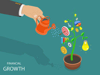 Flat isometric vector concept of financial growth, success, achievemen and investment.