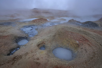 Geysers and fumaroles Sol de Manana at sunrise, Altiplano, Bolivia