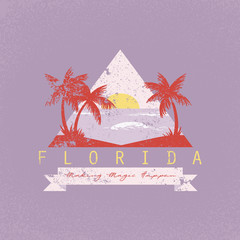 Florida making magic happen slogan. Neon palm and sun. Rock and roll patch. Typography graphic print, fashion drawing for t-shirts .Vector stickers,print, patches vintage