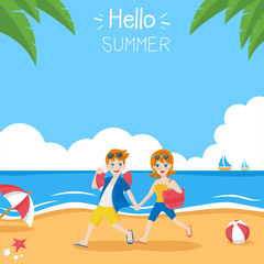 Young couple character in love on summer holidays run on beach, Friendly smiling man woman with sun glasses ready to enjoy vacation, romance, blue sky, red white ball, flat design vector illustration.