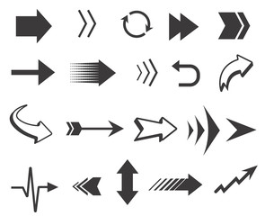 Vector black arrows collection. Arrows icons isolated on white background for navigation, mobile interfaces