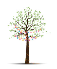 Vector illustration of a tree with lanterns. Cheerful party and celebration