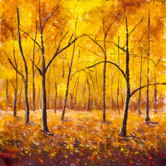 Autumn in the forest - original painting. Forest trees in the autumn foliage. Golden yellow orange brown warm autumn foliage on black trees in forest.