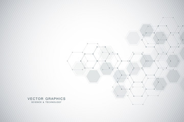 Medical background or science vector design. Molecular structure and chemical compounds. Geometric and polygonal abstract background.