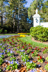 Landscaped estate entrance with open gate, road and many lawn flowers, flowerbed garden road