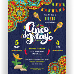 Cinco De Mayo announcing poster template. Mexican style ornaments for border and background.