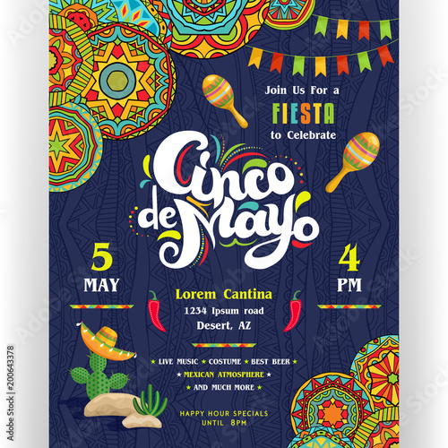 cinco de mayo announcing poster template mexican style ornaments for border and background