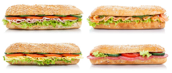 Wall Mural - Collection of sub sandwiches with salami ham cheese salmon fish lateral isolated on white