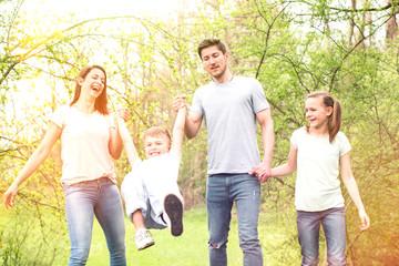 happy family in springtime