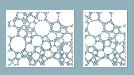 Vector illustration. Decorative panel lines, honeycomb, laser cutting. wooden panel.
