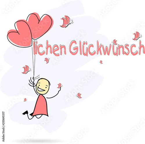 Mädchen Hält Herzluftballons Herzlichen Glückwunsch Stock Image