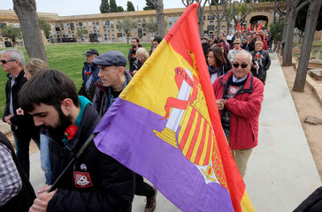 People march to commemorate the 87th anniversary of the declaration of the Second Spanish Republic at the General Cemetery in Valencia