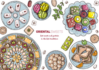Oriental sweets vector illustration. Middle eastern food, hand drawn. Food menu background.