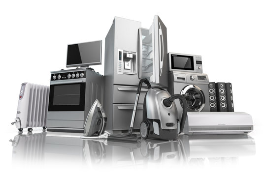 Home appliances. Set of household kitchen technics isolated on white background. E-commerce online internet store of appliances.