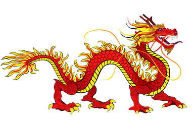 Chinese dragon. Hand drawn vector illustration isolated on white background.