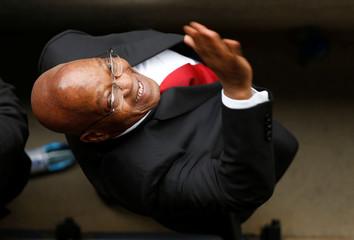 Former South Africa President Jacob Zuma waves during Winnie Madikizela-Mandela's funeral service in Soweto