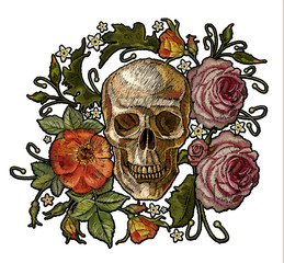 Embroidery skull and red roses. Gothic romanntic embroidery human skulls red roses and pink peonies, clothes template and t-shirt design vector art. Dia de muertos, day of the death