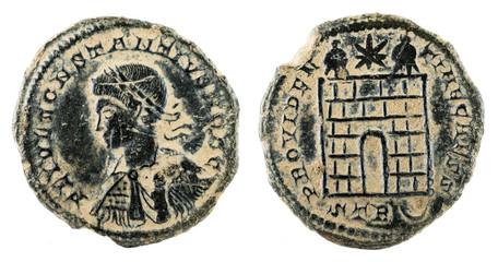 Ancient Roman copper coin of Emperor Constantius II.