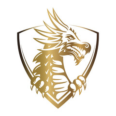 Gold vector head of a dragon in the form of a shield illustration, print, emblem design on a white background.