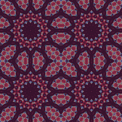 Abstract geometric background, seamless floral pattern, ornaments purple and red