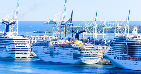 Fototapete - Line of Cruise Ships in Miami