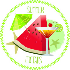 Juicy, ripe piece of watermelon, umbrella and a cocktail on a white background