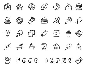 food hand drawn icon design illustration, line style icon, designed for app and web