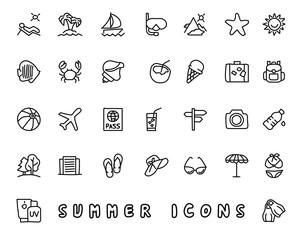 summer hand drawn icon design illustration, line style icon, designed for app and web
