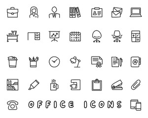 office hand drawn icon design illustration, line style icon, designed for app and web