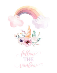 Isolated cute watercolor unicorn clipart with flowers. Nursery unicorns illustration. Princess rainbow poster. Trendy pink cartoon pony horse.
