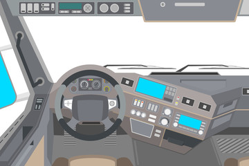View from an isolated cab of a truck. Vector illustration